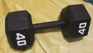 Single Iron/Metal Hexagonal 40lb Dumbbell Weight. Strength train. Bodybuilding