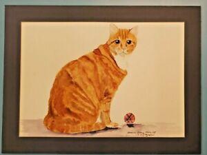 "Original Watercolor Painting American Orange Tabby Cat 24"" x 18"" Eva Thompson"