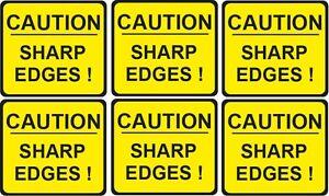 CAUTION  SHARP EDGES   health and safety vinyl sticker 57x51mm SET OF 6