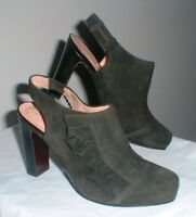 NANETTE LEPORE GREEN SUEDE LEATHER RUFFLE SIDE SLING BACK SHOE SIZE 8 B
