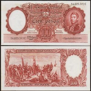 100 PESOS 1957-1967 ARGENTINE / ARGENTINA [SPL / AU] P272a - almost unc