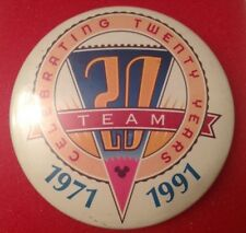 "Vintage Disney World Pinback Button ""Celebrating 20 Years 1971-1991"" Team Mickey"