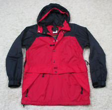 Vtg 90s Mens SM REI Jacket Full Zip Hood Red Black Nylon Shiny Windbreaker Coat