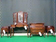 Bespoke acajou cinq pièces rococo lit français bois set coiffeuse convalescence