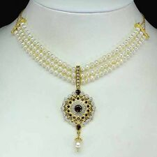 130CTS!! MUGHAL STYLE! GENUINE RICH MOZAMBIQUE GARNET, PEARL & DIAMOND NECKLACE