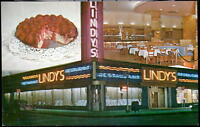 NYC NY Lindy's Restaurant Vintage Night View Cheesecake Dining Rm City Postcard