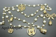 Chanel 03A faux pearl Bow bell charms gold-tone chain belt necklace