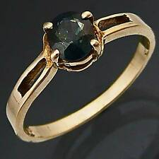 Solitaire Natural Blue SAPPHIRE 9k Solid Yellow GOLD RING Mid Sz N1/2