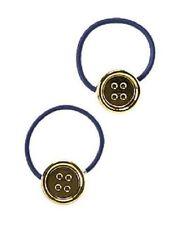Gymboree Cape Cod Cutie Line Ponytail Holder Girl Button Gold & Navy Blue Girl