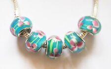5 Lampwork Glass Charm Beads- Fit Charm Bracelet - Aqua with Flower