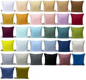 Kissenhülle 40x40 50x50 in 32 Farben Deko Kissenbezug UNI 100% Baumwolle Hülle