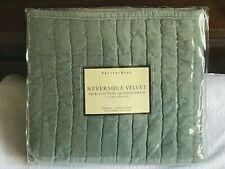 Pottery Barn NEW Reversible Velvet Silk Cotton Quilted Sham Standard Green NIP