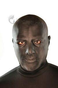 BLACK LATEX HOOD THICK HEAVY RUBBER MASCULINE ANATOMICAL MALE FULL HEAD ZIP MASK