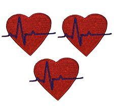"Electrocardiogram Ekg Applique Patch - Doctor, Nurse, Heart 2"" (3-Pack, Iron on)"