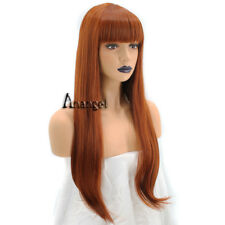 Anogol Copper Red Orange Synthetic Hair With Bangs Wig Natural Wavy Long Wigs