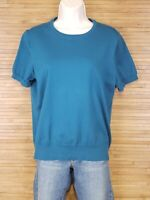 Land's End Blue Short Sleeve Knit Top Blouse Womens Size Medium M EUC