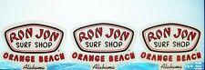 New listing 3 Ron Jon Surf Shop Orange Beach Alabama Decals Stickers 5-1/2 x 4-1/2 New