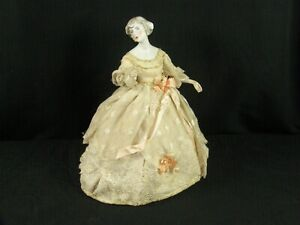 Hand-Painted French Porcelain Boudoir Half Doll Lampshade Wire Cage Frame