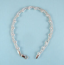 Unique STERLING SILVER Chain NEW Bracelet Intertwine Beads Designer Inspired USA