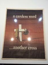 Original Vintage Poster A Careless Word Another Cross Atherton 1943 WWII 28x22