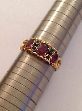 Superb Quality Victorian 15ct Gold Almandine Garnet & Emerald Set Ring