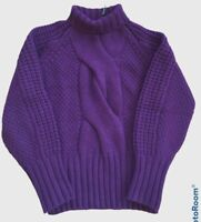 MASSIMO DUTTI Purple Chunky Knit Jumper Roll Neck Wool Mix 5% Cashmere - S