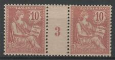 "FRANCE STAMP TIMBRE 124 "" MOUCHON 10c ROSE EN PAIRE MILLESIME 3"" NEUFxx SUP N855"