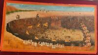 Hand Painted Mughal Hunting Scene Tiger Miniature Painting India Artwork