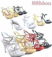 Women's Sexy Open Toe Low stiletto Heel Pump Evening Party Shoes Size 5 - 11 NEW