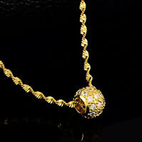 """18k Yellow Gold Elegant Sweater Pendant 20"""" 24"""" 30"""" Link Chain Necklace D714"""