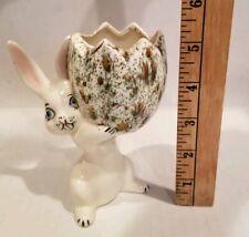 Vtg Pastel Bunny Rabbit Holding Speckled Cracked Egg Planter/Vase