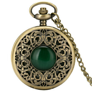 Vintage Quartz Pocket Watch Emerald Steampunk Skeleton Case Pendant Chain Gifts