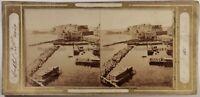 Italia Napoli Castel Dell'Ovo Chez Richter Foto Stereo Vintage Albumina c1858