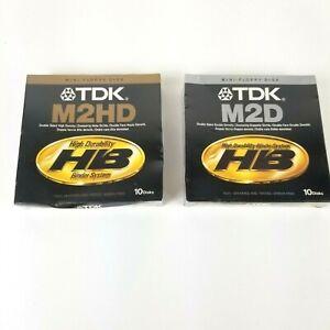 "2 New 10 Pack TDK M2HD/M2D Mini-Floppy 5-1/4"" Disks Double Side"
