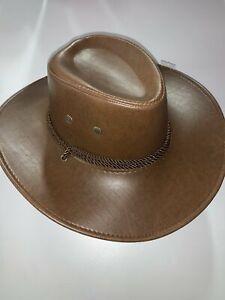 Cowboy Hat - Faux leather Brown