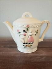 New listing Vintage Porcelier c1930s Vitreous China Large Teapot with Girl & Boy