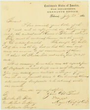 Civil War Letter Ordnance Chief Josiah Gorgas Equipment Order for 100,000 Troops