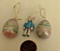Vintage Hallmark Keepsake Mini Easter Ornaments Lot Of 3 1 BUNNY 2 EASTER EGGS
