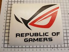 "1x Medium Republic Of Gamers tower Red and Black vinyl decal Sticker 5.5"" x 4.5"""