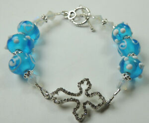 White & Turquoise Crystal Lampwork Bracelet with Rhinestone Cross Handcrafted