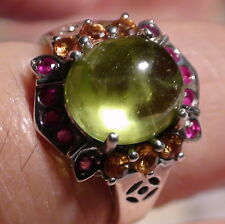 NATURAL  PERIDOT 10.00 CT, RUBY, SAPPHIRE RING 925 STERLING SILVER,SIZE 7.75