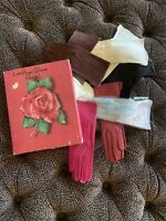 Women's 1940's Kid Leather Day Gloves Collection 7 Piece Plus Vintage Rose Box