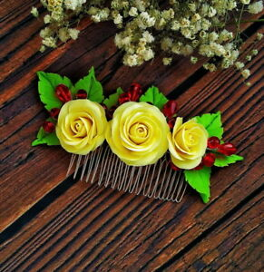 Rose Hair Comb HANDCRAFTED Fashion polymer clay floral cute wedding HANDMADE