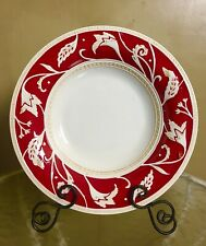 Rare Fitz And Floyd Town & Country Red Serving Tray 14 1/4� China + Ornate Stand