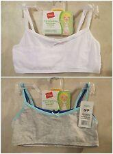 2 Packs Girls HANES S White Crop Top Pullover Cotton Spandex Training Bra~4 Bras