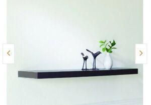 "Set of 2 Modern Style Floating Shelves Hanging Wall Shelves Espresso 42 x 10.2"""