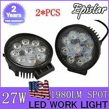 2X 27W 4Inch Spot Round LED Work Light Offroad Fog Driving DRL SUV ATV Truck 4WD