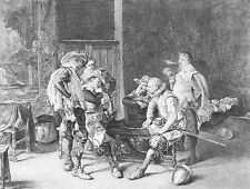 French Soldiers CAVALIERS ROYAL GUARDS PLAY CARDS ~ Old 1877 Art Print Engraving