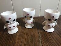 (3) Vintage Anthropomorphic Porcelain Pink Polka Dot EGG CUPS