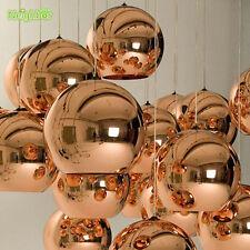 Modern Copper Shade Mirror Glass Ball Chandelier Pendant Lamp Lighting Fixtures